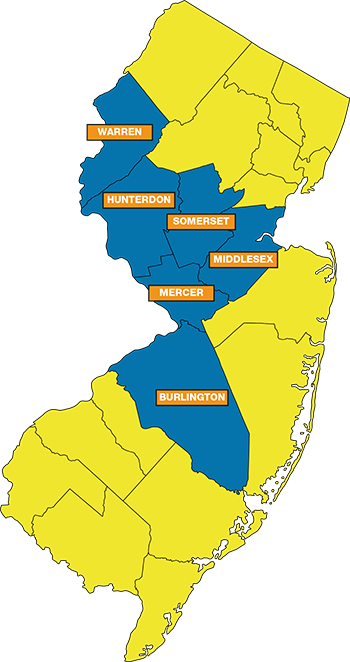 Map of New Jersey with SAM service counties highlighted